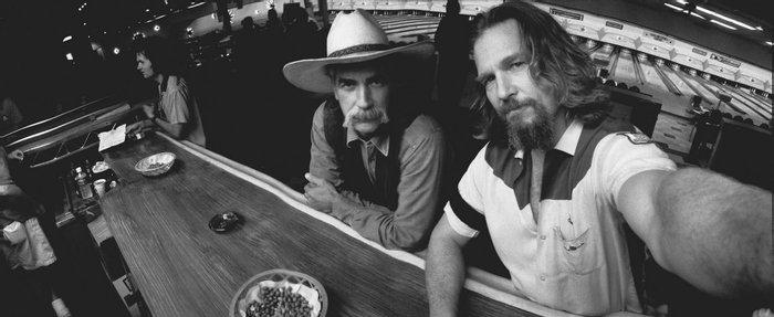 Джефф Бриджес и Сэм Эллиот на площадке х/ф «Большой Лебовски», 1997 год, США