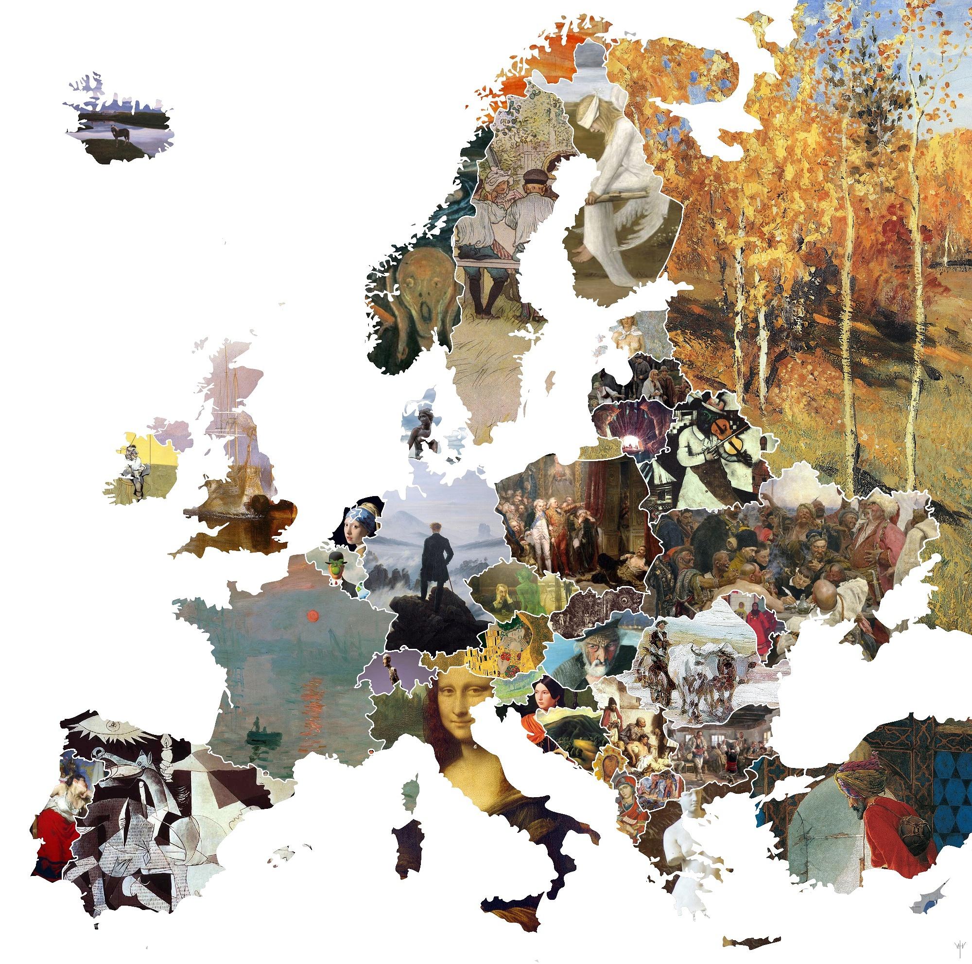 Карта Европы из наиболее знаковых картин каждой нации