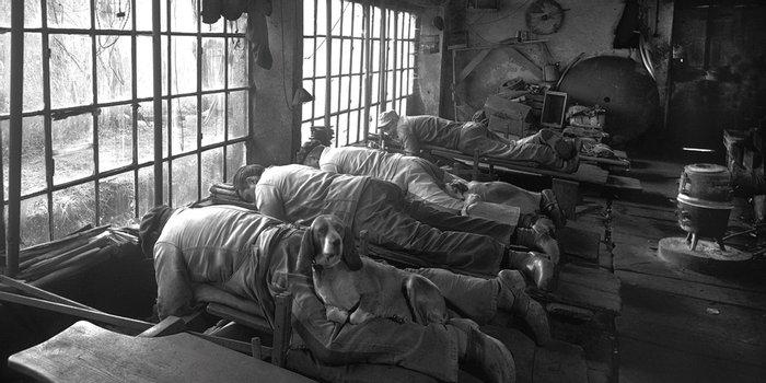 Точильщики ножей, согреваемые своими собаками. Франция, 1900–е